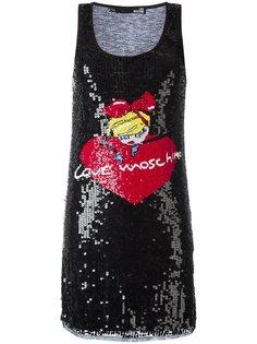 платье с отделкой пайетками и логотипом Love Moschino