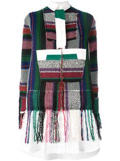 лоскутное платье-рубашка Sacai