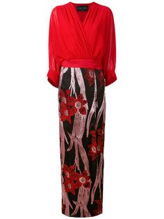 жаккардовое платье с запахом и цветочным узором  Christian Pellizzari