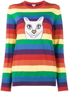 полосатый свитер с принтом кота Loewe