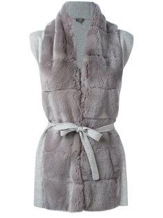 пальто-кардиган с меховой отделкой N.Peal