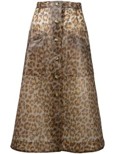 юбка миди с леопардовым принтом  Christopher Kane