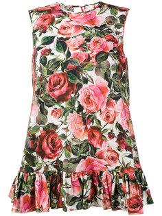 топ с принтом роз и баской Dolce & Gabbana