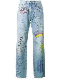 джинсы с принтом рисунков и надписей Mira Mikati
