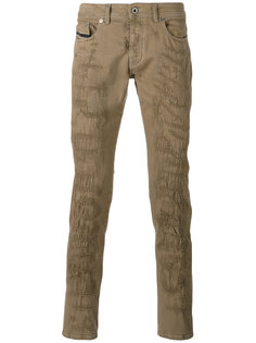 брюки кроя слим с потертой отделкой Diesel Black Gold