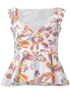 блузка с баской и цветочным принтом Peter Pilotto