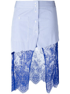 Scully lace panel asymmetric striped skirt Filles A Papa