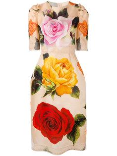 платье шифт с цветочной отделкой  Dolce & Gabbana