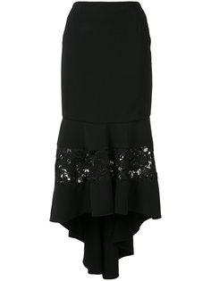 облегающая юбка с кружевными вставками Christian Siriano