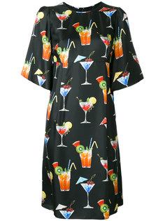 платье шифт с принтом коктейлей Dolce & Gabbana