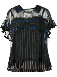 двухслойная блузка с полосатым топом Sacai