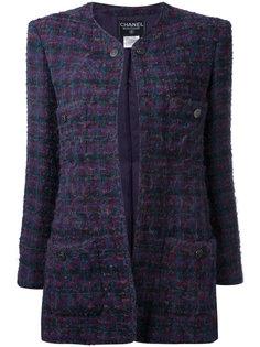твидовое пальто с длинными рукавами Chanel Vintage