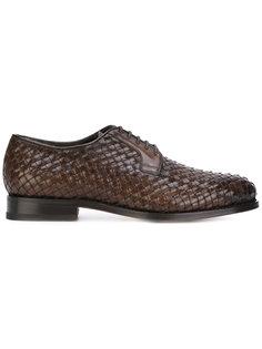 фактурные плетеные туфли на шнуровке  Santoni