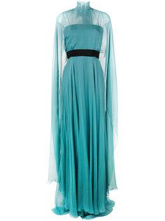 полупрозрачное вечернее платье-кейп  Alberta Ferretti
