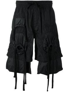 шорты с присборенной отделкой и вышивкой KTZ
