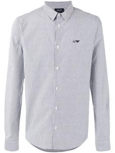 полосатая рубашка с вышитым логотипом Armani Jeans