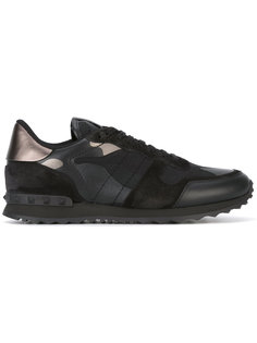 кроссовки с панелями из замши Valentino