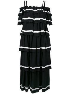 длинное многослойное платье с открытыми плечами Rossella Jardini