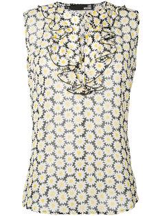 блузка с рюшами и принтом ромашек Love Moschino