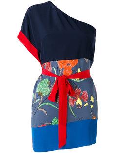 футболка на одно плечо с цветочным принтом  Diane Von Furstenberg