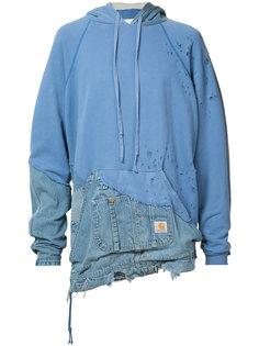 толстовка с капюшоном и джинсовыми вставками Greg Lauren