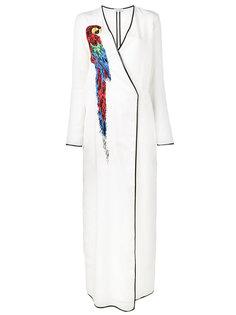 халат с изображением попугая Raquel Attico