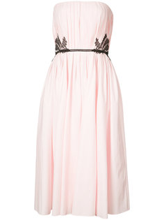 lace-trimmed pleated gown J. Mendel