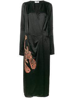 платье с запахом и вышивкой Attico