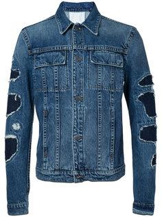 джинсовая куртка с рукавами в стиле пэчворк  Helmut Lang