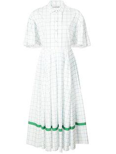 checked flared buttoned dress Vika Gazinskaya