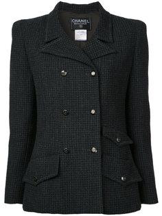 твидовый пиджак с логотипом CC Chanel Vintage