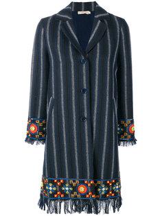 пальто в полоску с отделкой Tory Burch