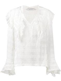 блуза с V-образным вырезом с рюшами Philosophy Di Lorenzo Serafini