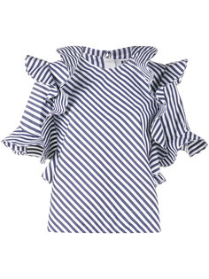 полосатая блуза с оборками MSGM