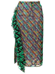полосатая юбка с гофрированной панелью Marco De Vincenzo