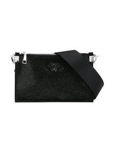 клатч с логотипом и стразами Versace