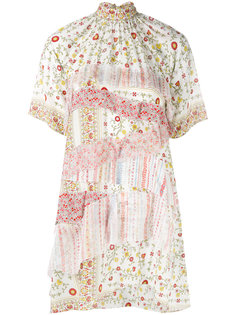 платье-рубашка с высокой горловиной и цветочным принтом  Nº21