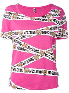 футболка с рисунком в виде лент с медведями Moschino