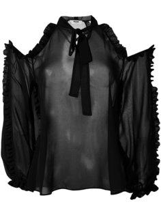 блузка с открытыми плечами и оборками MSGM