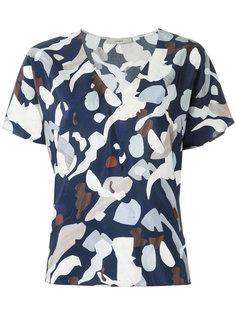v neck printed blouse Egrey