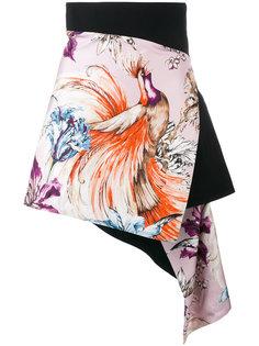 короткая юбка с запахом и принтом  Fausto Puglisi
