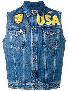 джинсовый жилет с заплатками Just Cavalli
