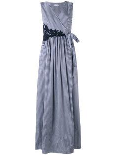 длинное платье в полоску без рукавов с запахом  P.A.R.O.S.H.