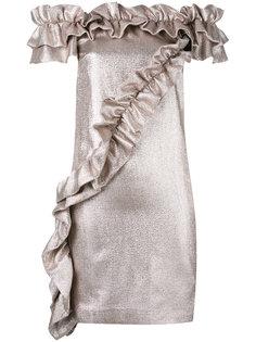 платье с открытыми плечами и рюшами Marco Bologna