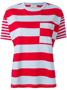полосатая футболка в стиле пэчворк Maison Kitsuné