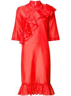платье с оборками с воротником-стойкой Tome