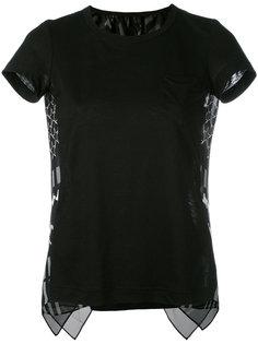 футболка с клетчатыми панелями Sacai