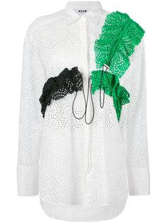 рубашка с перфорацией и оборками MSGM