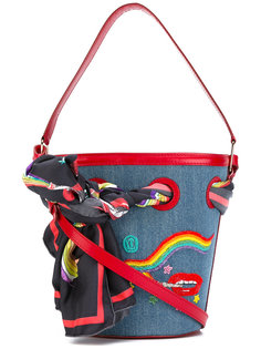 smoking lip embroidered bucket tote Olympia Le-Tan