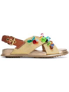сандалии с разноцветными кристаллами Car Shoe